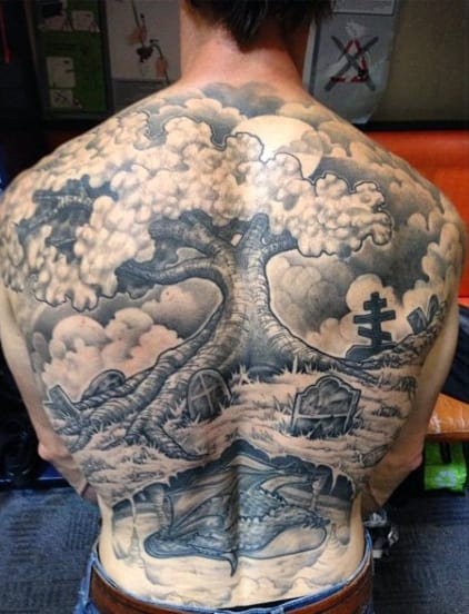 Men's Graveyard Tattoo Designs On Back