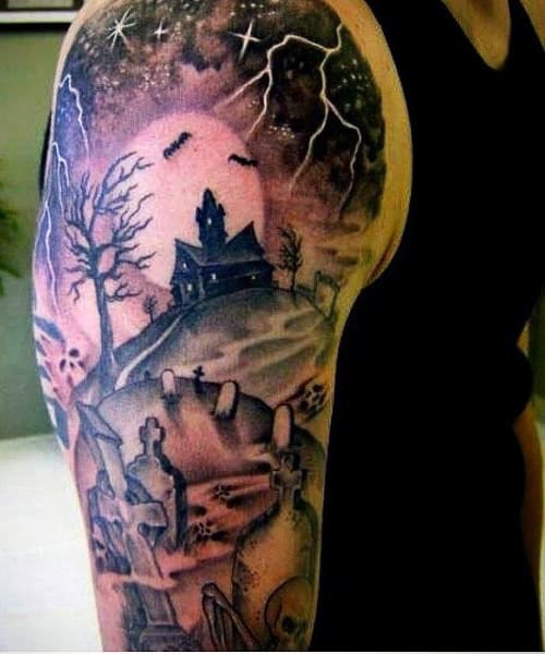Men's Graveyard Tattoo Sleeve