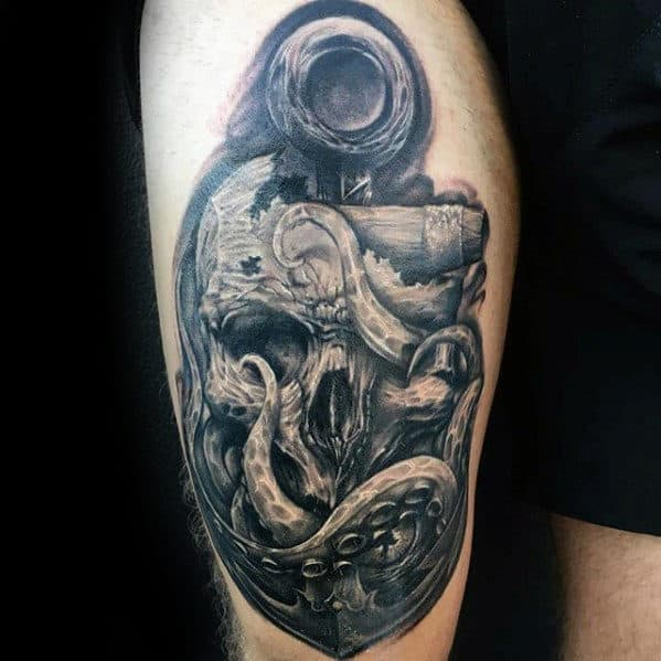 Mens Great Anchor With Octopus And Skull Tattoo Ideas On Thigh