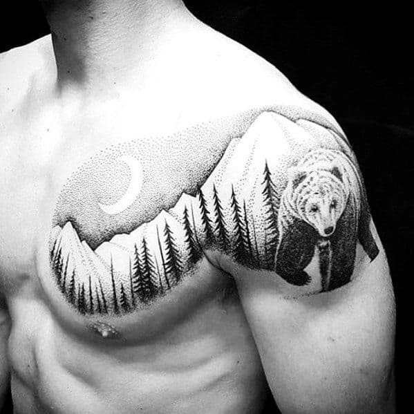 Mens Great Dotwork Bear In Forest With Moon Upper Chest Tattoo Ideas