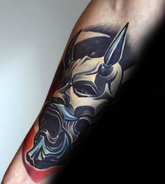 Mens Great Mask Tattoo Ideas On Inner Forearms