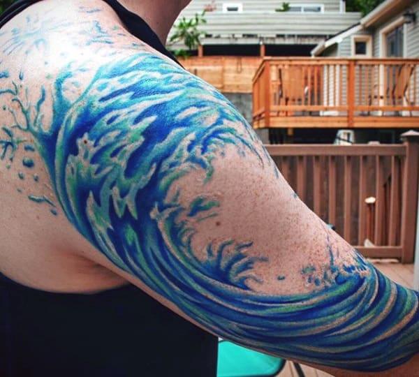 Men's Great Wave Tattoo Half Sleeve