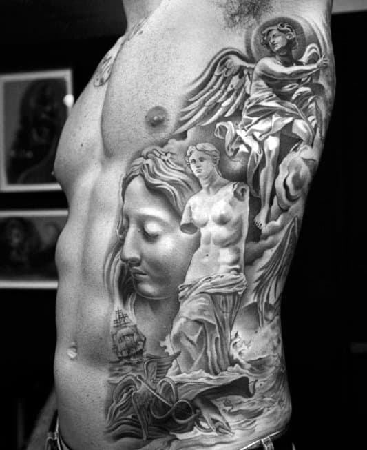 Men's Greek God Tattoos Designs On Side Of Ribs