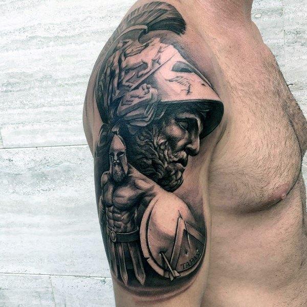 Mens Greek Shield Arm Tattoo