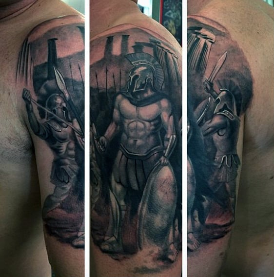 Men's Greek Warrior Arm Tattoos