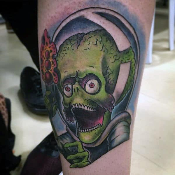 Mens Green Alien Inside Spacesuit Arm Tattoo