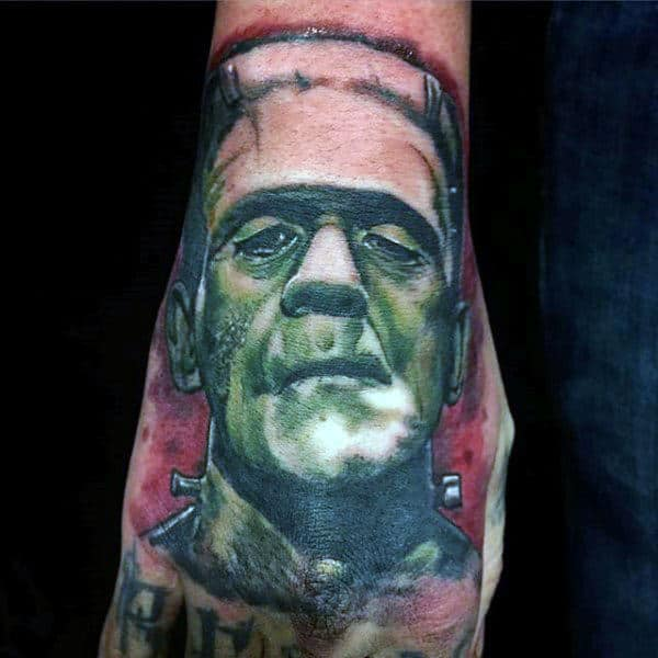 Mens Green And Red Ink Frankensteinhand Tattoo