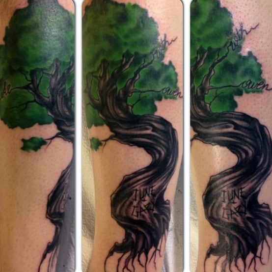 Mens Green Carved Wood Family Tree Leg Tattoo