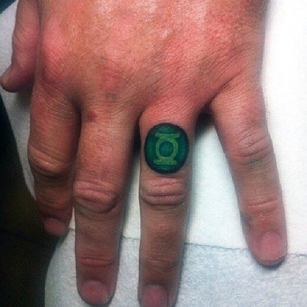 Mens Green Lantern Ring Tattoo On Finger