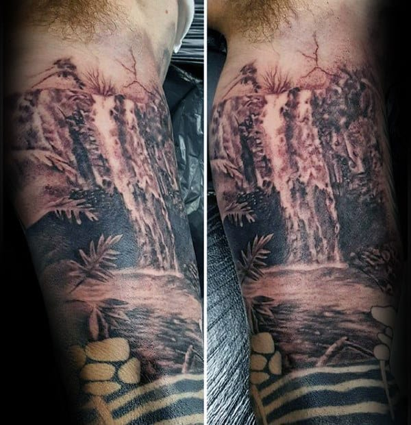 Mens Grey And Black Waterfall Inner Arm Tattoos