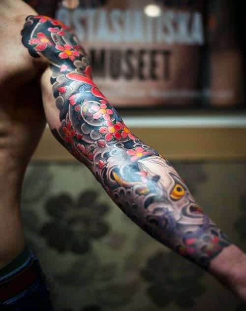 Mens Grey And Red Flowers Japanese Sleeve Tattoo