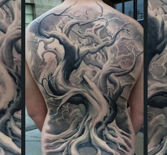 Mens Grey Black Terrific Oak Tree Branch Tattoo Full Back