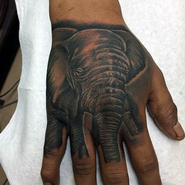 Mens Grey Elephant Tattoo On Hands