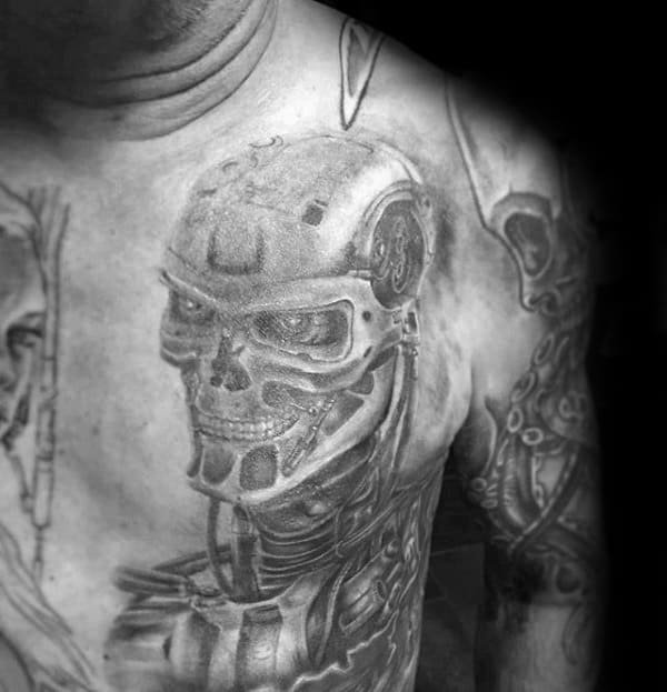 Mens Grey Ink Shaded Cyborg Robot Terminator Chest Tattoos