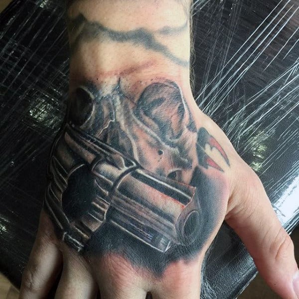 Mens Grey Pistol Tattoo On Hands