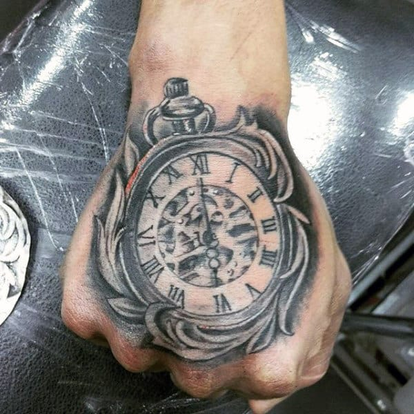 Mens Grey Pocket Watch Tattoo On Hands