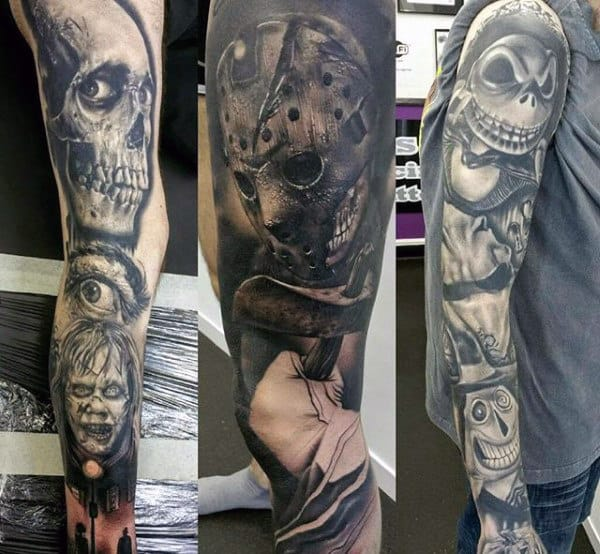 Mens Grey Scary Halloween Tattoo Full Sleeve