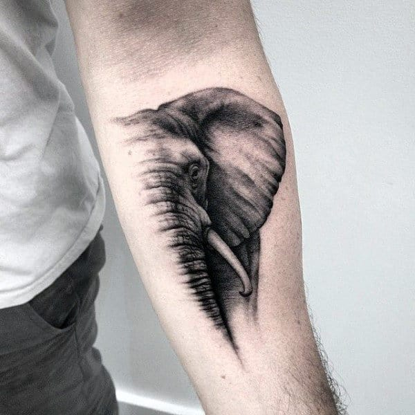 Mens Grey Shaded Elephant Tattoo Forearms