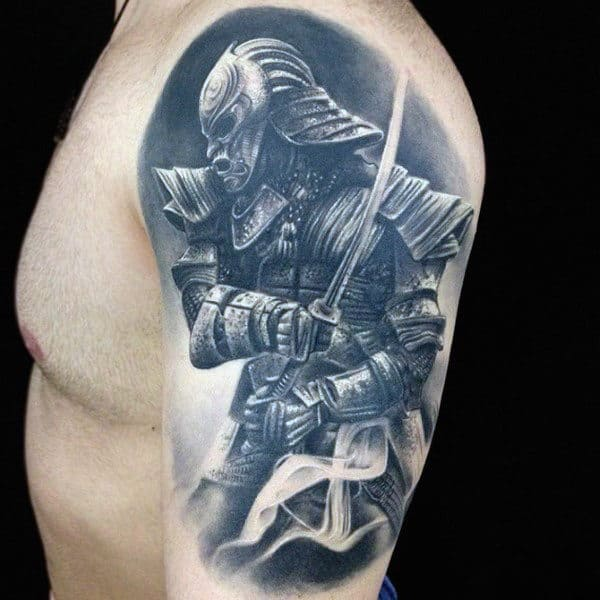 Mens Grey Viking Quarter Sleeve Tattoo