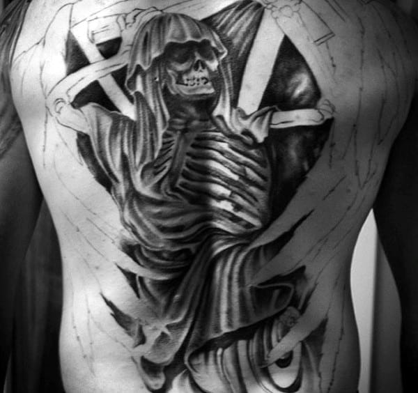 Men's Grim Reaper Back Tattoos