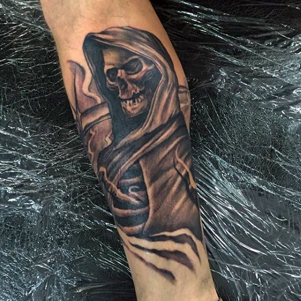 Mens Grim Reaper Shaded Black And Grey Shin Tattoos