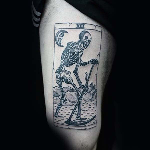 Mens Grim Reaper Woodcut Thigh Tattoos