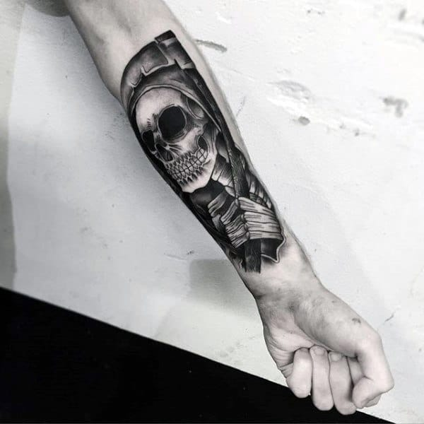 Mens Grim Repear Insane Forearm Tattoo
