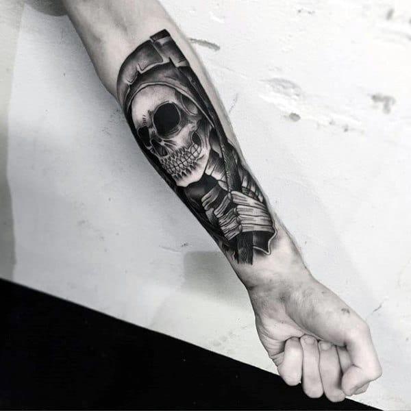 Mens Grim Repear Insane Forearm Tattoo