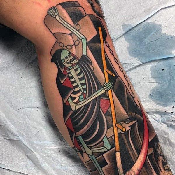 Men's Grim Reaper Skull Tattoo Designs