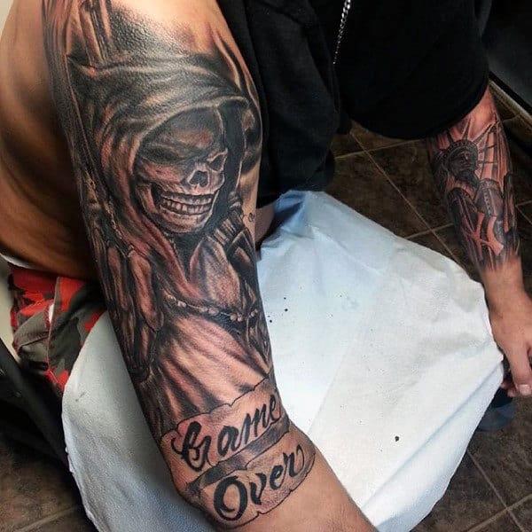Men's Grim Reaper Tattoo Ink Design