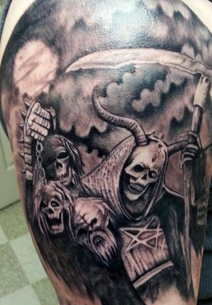 Men's Grim Reaper Tattoo With Skull