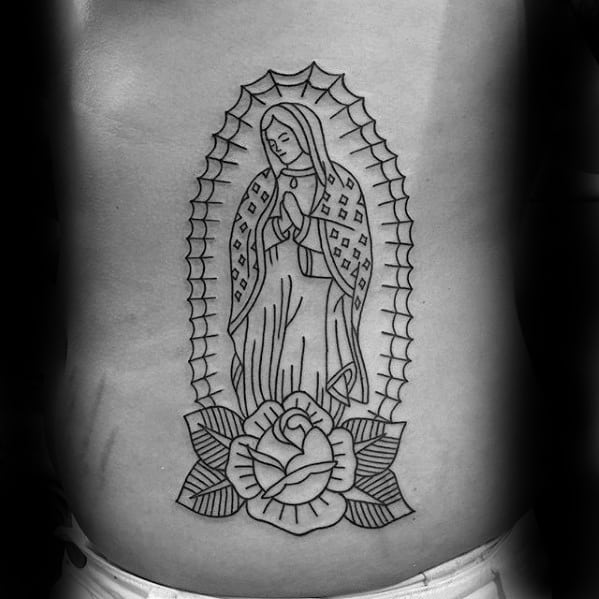Mens Guadalupe Tattoo Design Inspiration Rib Cage Side Black Ink Outline