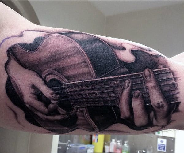 Men's Guitar Pick Tattoo