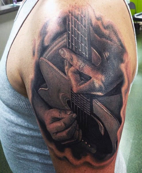 Men's Guitar Tattoo Ideas