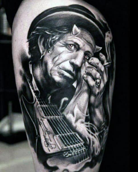Men's Guitar Tattoo