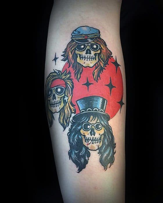 f1d6308163668 40 Guns And Roses Tattoo Designs For Men - Hard Rock Band Ink Ideas
