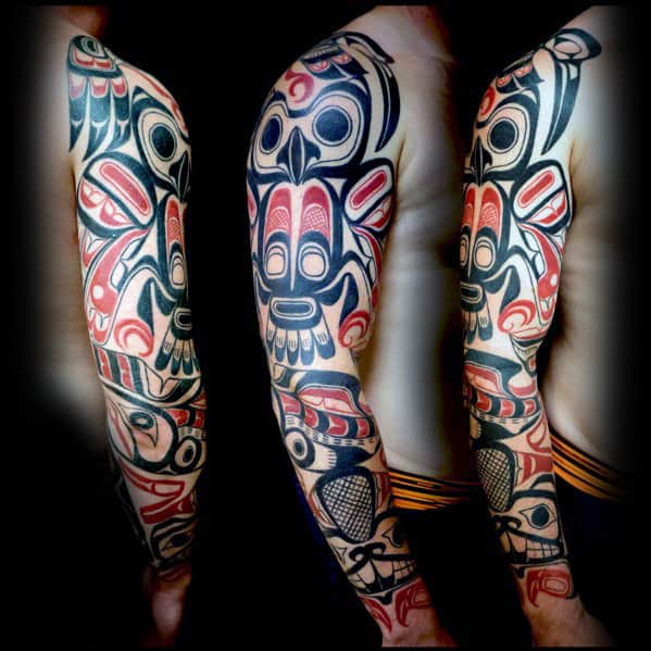 Mens Haida Full Arm Sleeve Tribal Owl Tattoos