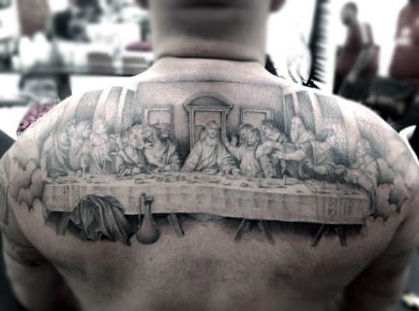 Mens Half Back Last Supper Table Tattoo Design