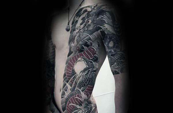 mens-half-body-rib-cage-side-japanese-dragon-tattoos