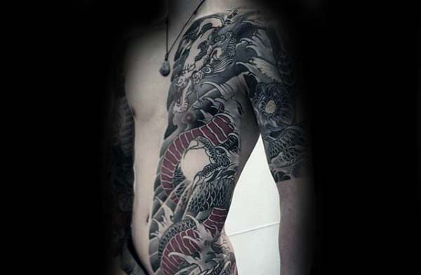 Mens Half Body Rib Cage Side Japanese Dragon Tattoos