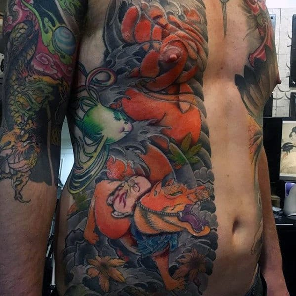 Mens Half Chest Kitsune Japanese Tattoo