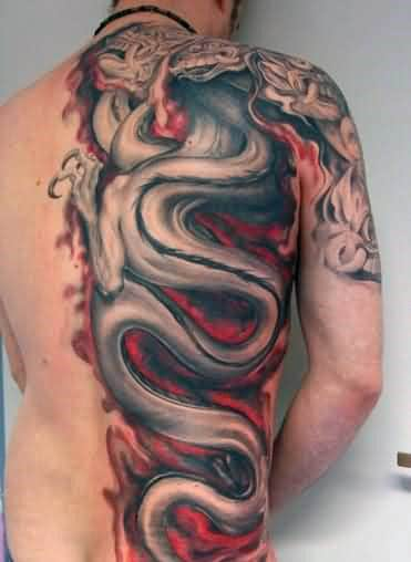 Mens Half Side Of Back Red And Grey Dragon Flames Tattoo Ideas