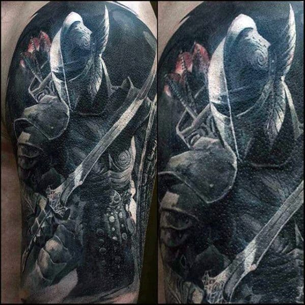 Mens Half Sleeve 3d Tattoo With Gamer Design