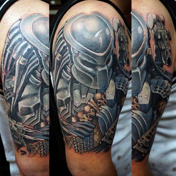 Mens Half Sleeve Alien Vs Predator Tattoo Designs