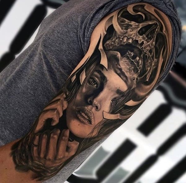 Mens Half Sleeve Awesome Skull With Portrait Of Woman Tattoo