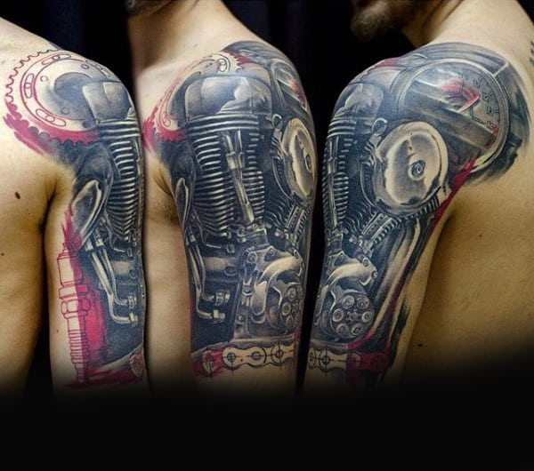 Mens Half Sleeve Biker Engine Tattoos Realistic Design