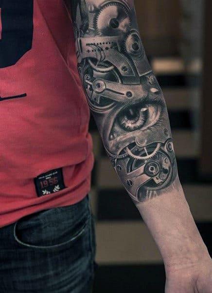 Gear Men's Half Sleeve Clock Tattoo