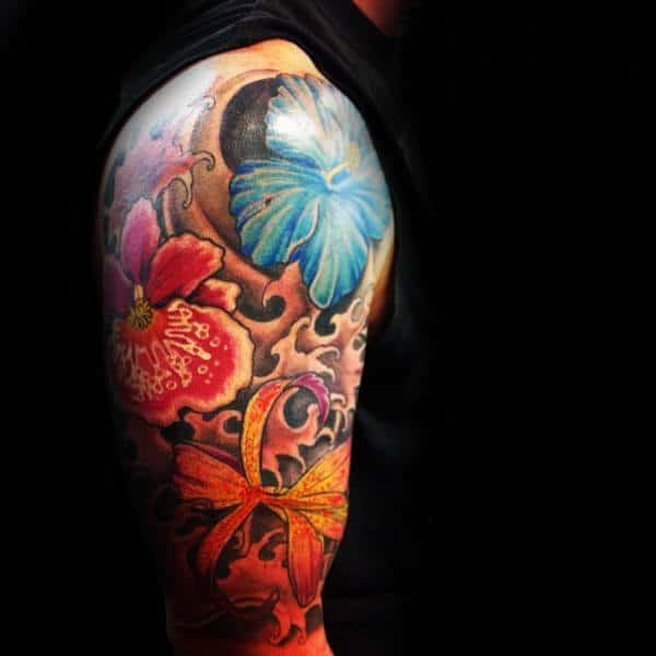 Mens Half Sleeve Colorful Hibiscus Tattoos