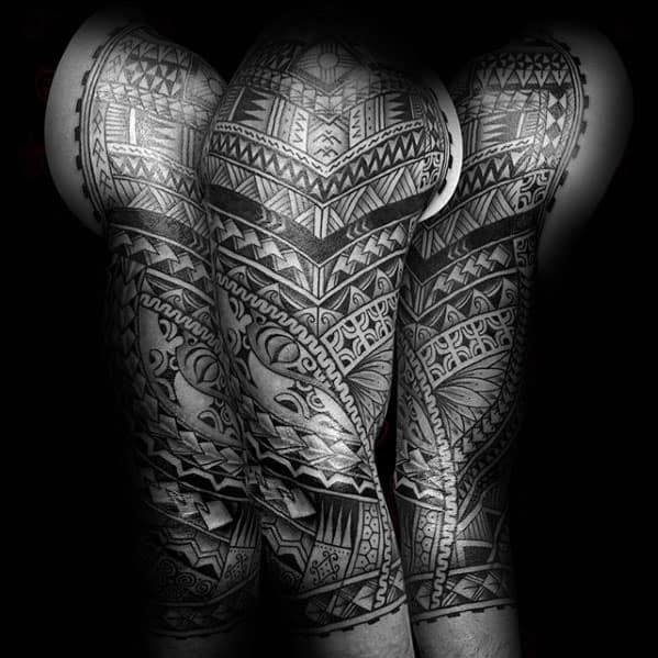 Mens Half Sleeve Cool Polynesian Traditional Tribal Tattoos