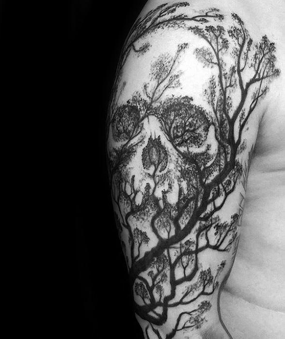 Mens Half Sleeve Cool Skull Tree Tattoo Ideas